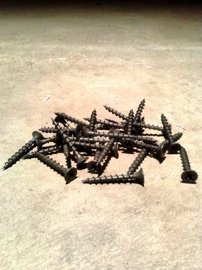 Stapel von Schrauben stockfoto
