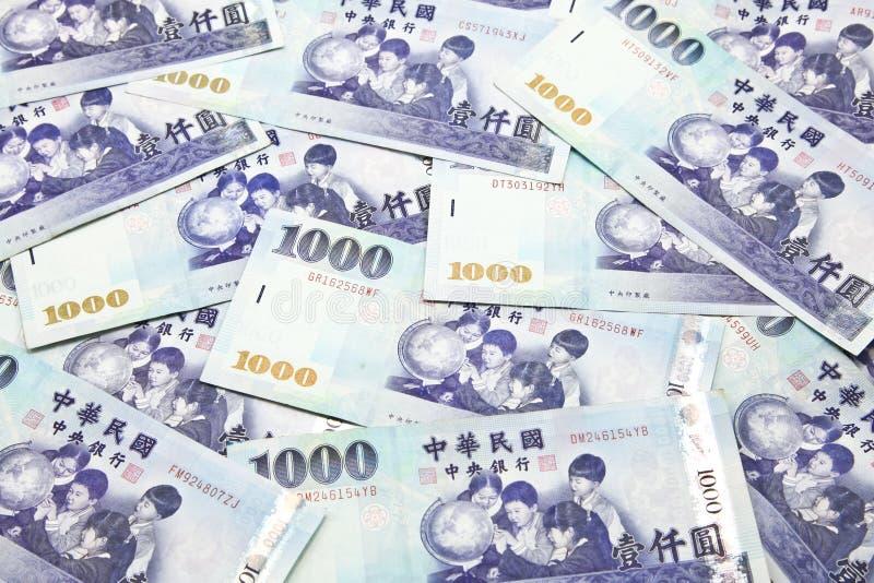 Stapel von Taiwan-Dollarbanknoten stockfotos