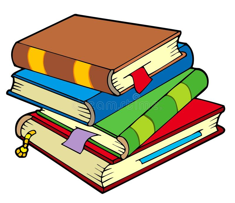 Stapel von vier alten Büchern stock abbildung