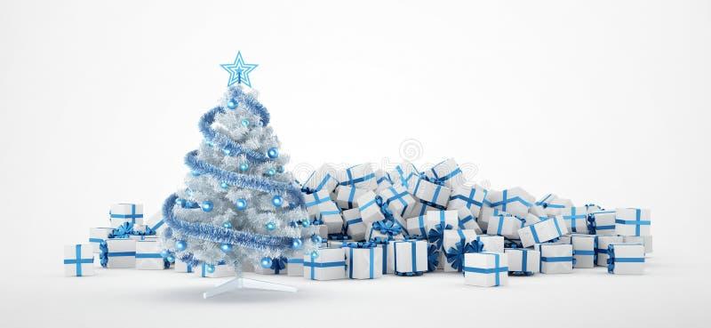 Stapel von Weihnachtsgeschenken und von Weihnachtsbaum vektor abbildung