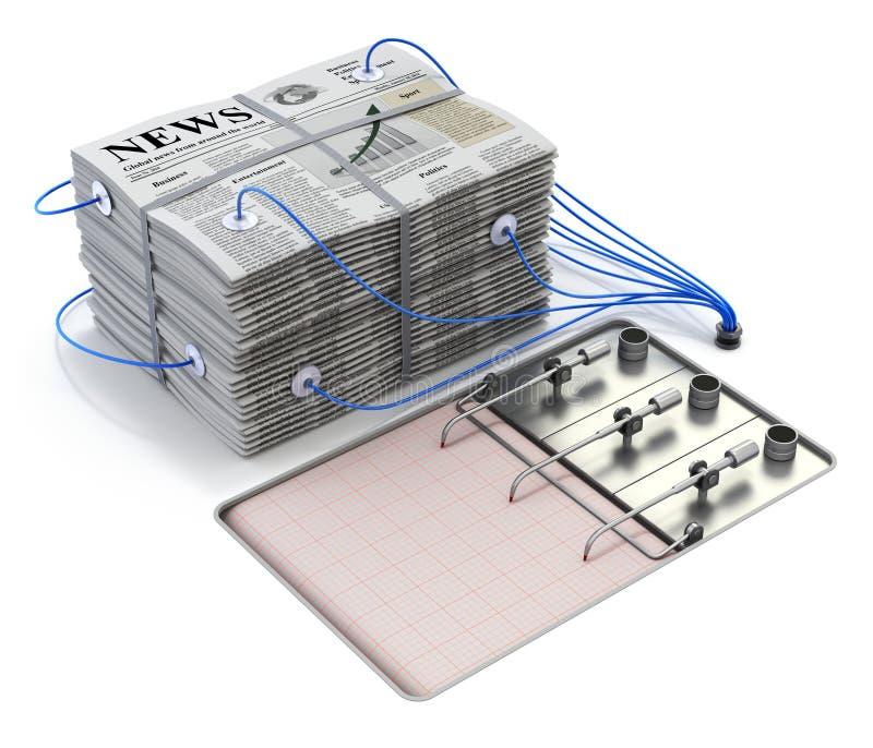 Stapel von Zeitungen auf dem Polygraphlügendetektor stock abbildung