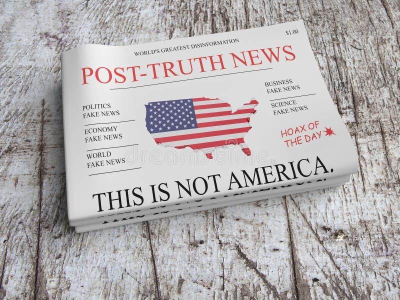 Stapel von Zeitungs-Nach-Wahrheits-Nachrichten auf Scratched altem Holz, Illustration 3d stock abbildung