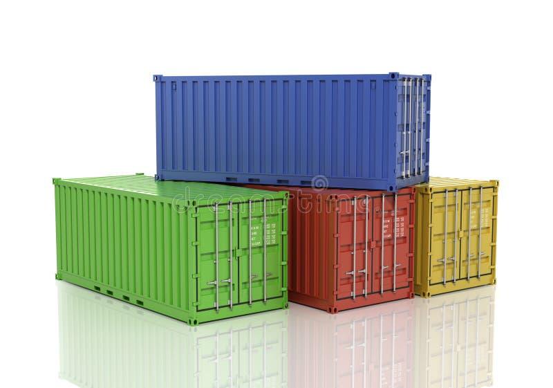 Stapel Vrachtcontainers vector illustratie