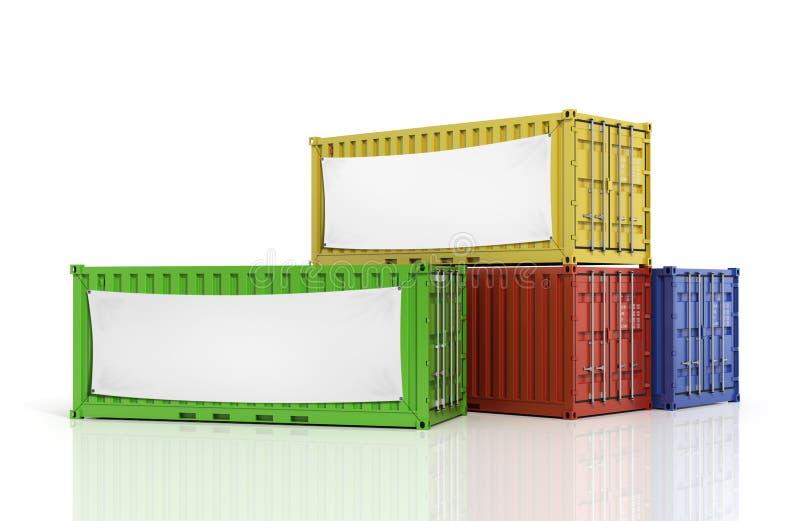 Stapel vrachtcontainers met lege witte banner stock illustratie