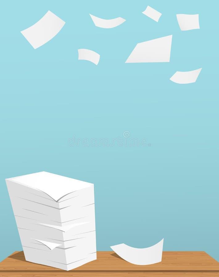 Stapel weiße Blätter auf braunem Tabellen- und Fliegenpapier im blauen Hintergrund stock abbildung