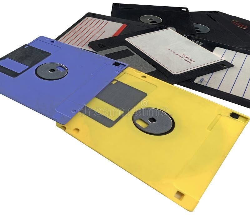 Stapel, Weinlesefloppydatencomputerplatten, getrennt lizenzfreies stockbild