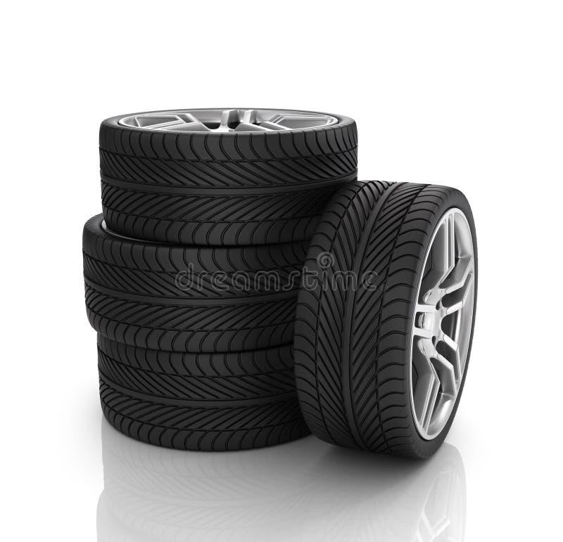 Stapel wielen 3d beeld stock illustratie