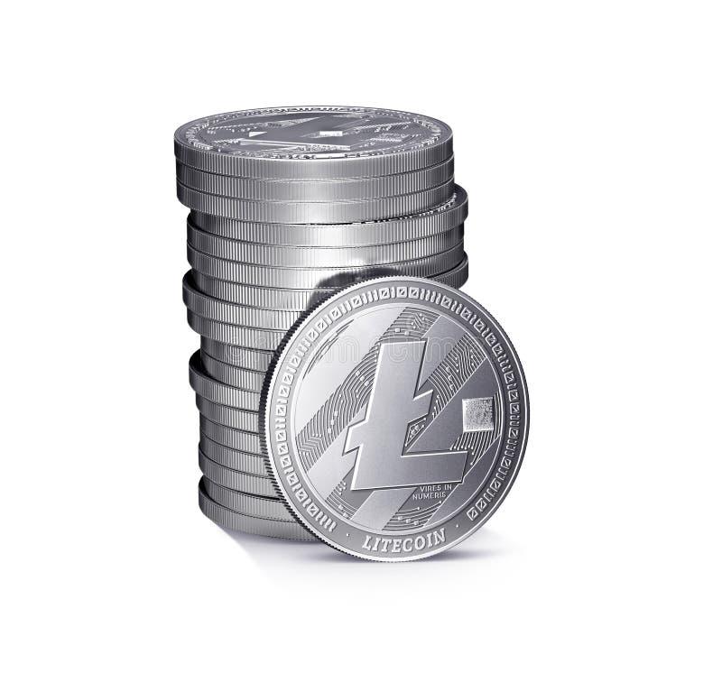 Stapel of stapel zilveren die Litecoin-muntstukken op witte achtergrond worden geïsoleerd stock illustratie
