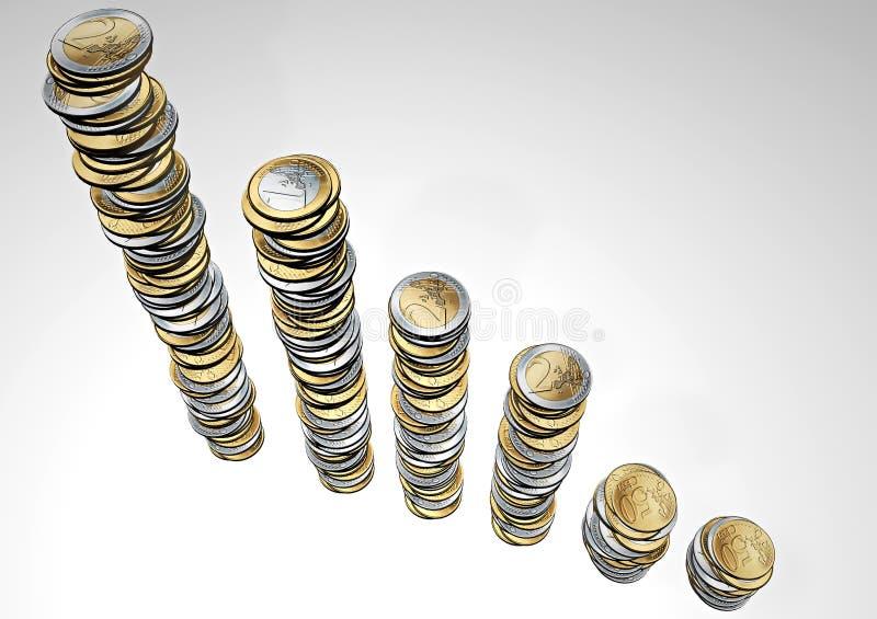 Stapels euro muntstukken royalty-vrije illustratie