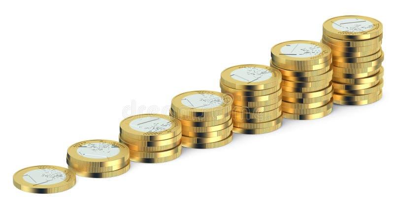 Stapels Euro muntstukken stock illustratie