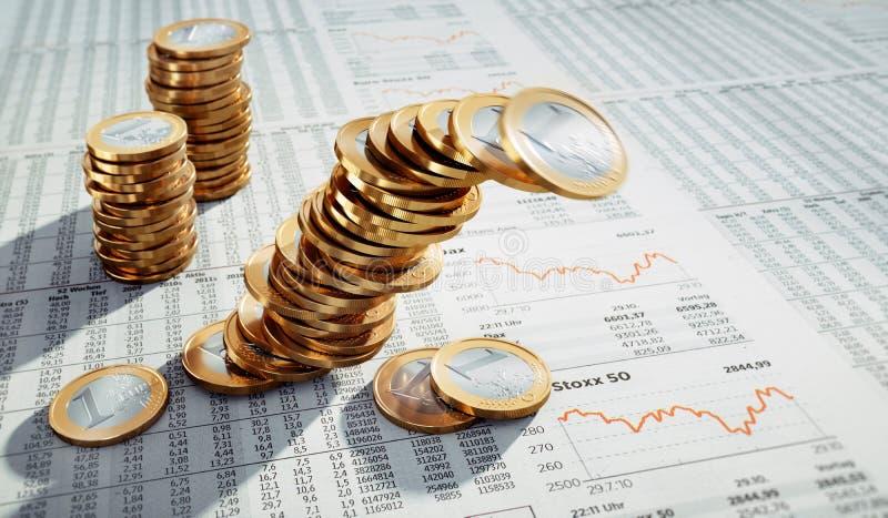 3 stapels Euro muntstukken royalty-vrije illustratie