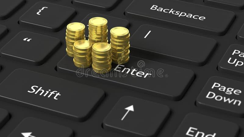 Stapels gouden muntstukken op zwarte laptop stock illustratie