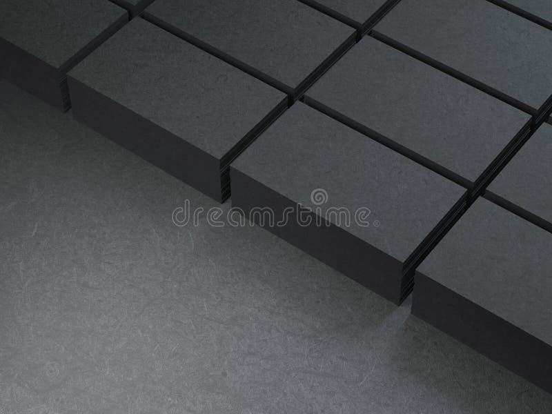 Stapels karton Zwarte adreskaartjes stock illustratie