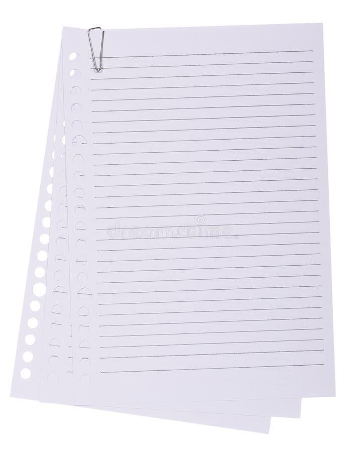 Stapels van document blad met paperclip stock foto