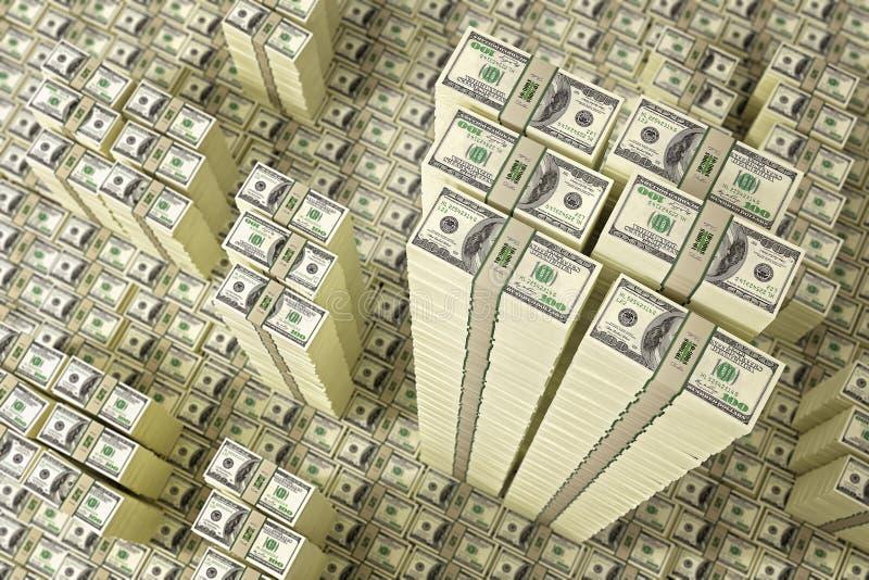 Stapels van dollarrekeningen stock afbeelding