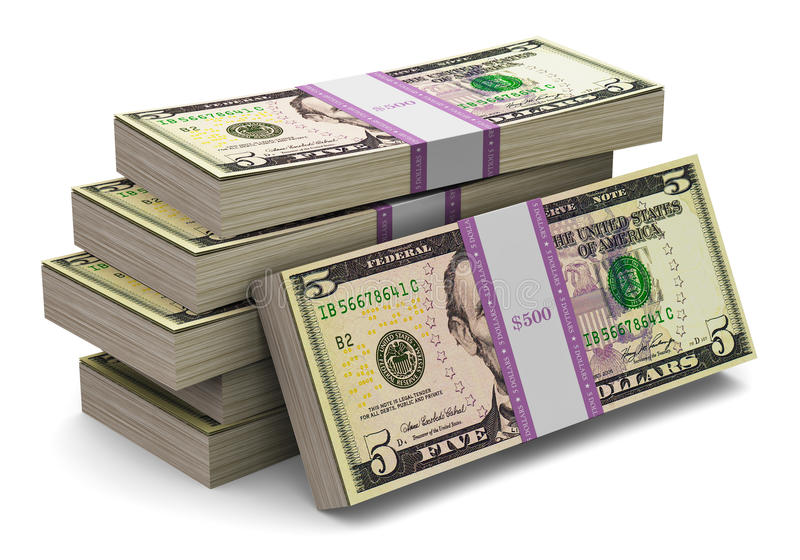 Stapels van 5 dollarsbankbiljetten stock illustratie