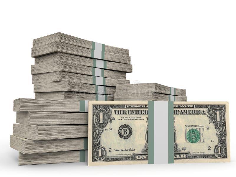Stapels van Geld Één Dollar stock illustratie
