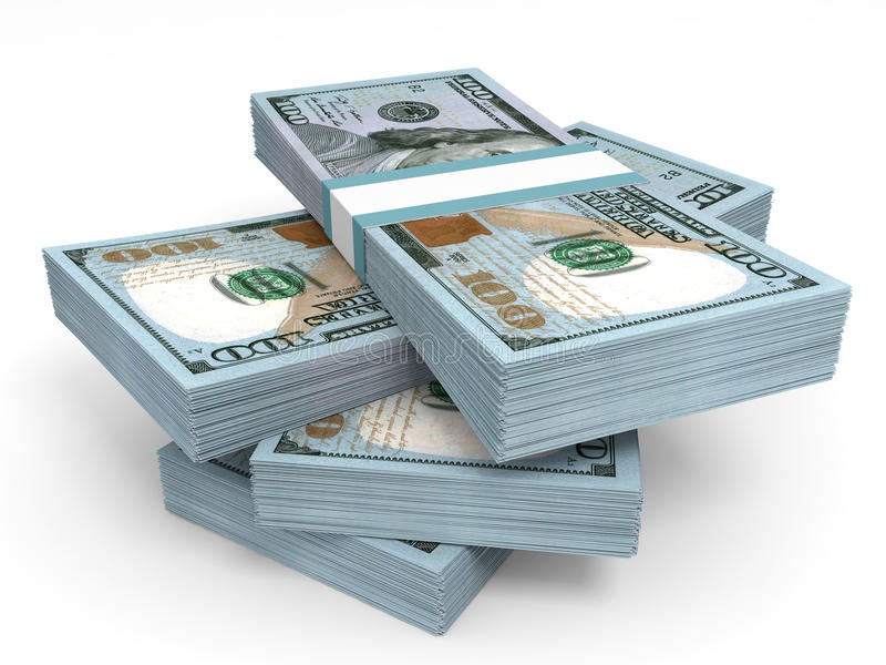 Stapels van Geld Nieuwe Honderd dollars royalty-vrije illustratie
