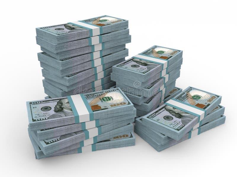 Stapels van Geld Nieuwe Honderd dollars vector illustratie