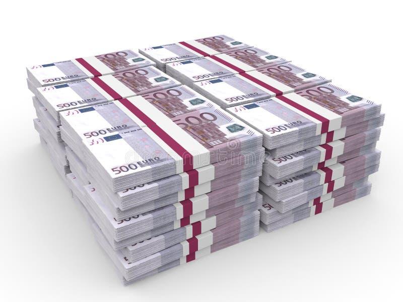 Stapels van Geld Vijf honderd euro royalty-vrije illustratie