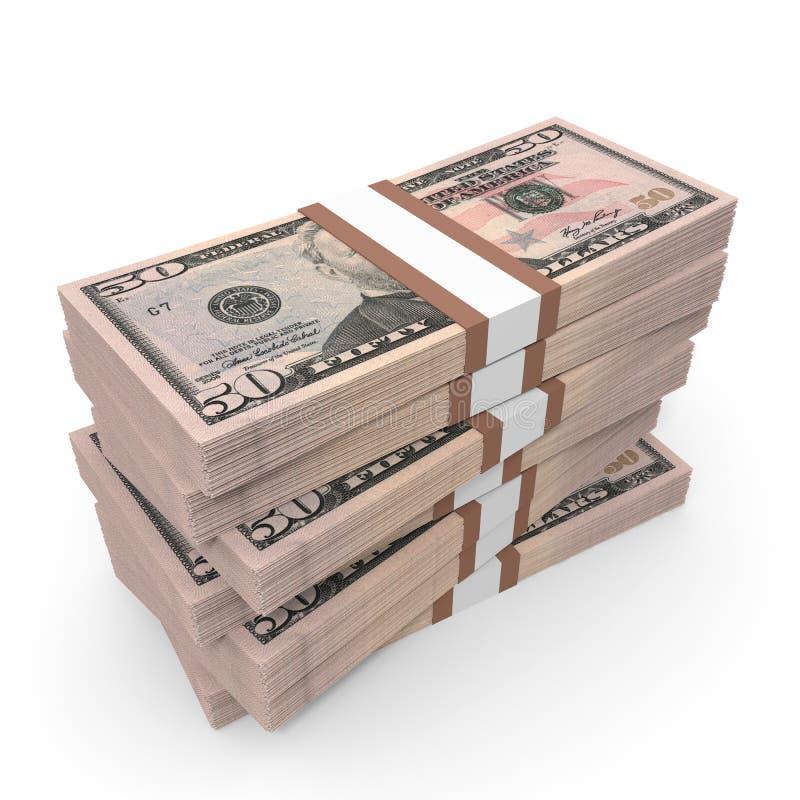 Stapels van Geld Vijftig Dollars vector illustratie
