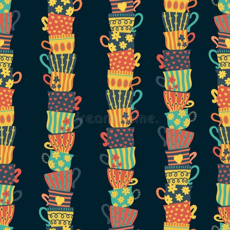 Stapels van gestapelde kleurrijke koppen op donker naadloos patroon als achtergrond Hand getrokken vectorillustratie van theemokk vector illustratie