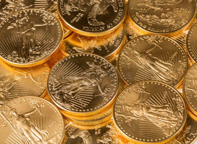 Inzameling van één ons gouden muntstukken royalty-vrije stock foto's