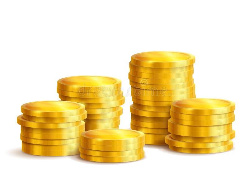 Stapels van gouden geïsoleerde metaalmuntstukken stock illustratie