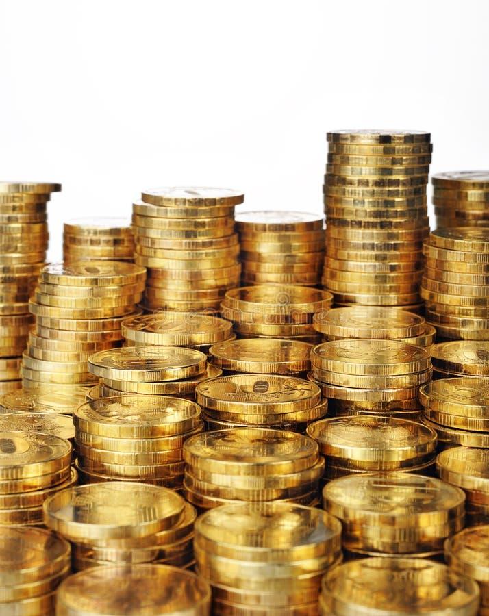 Stapels van gouden muntstukken royalty-vrije stock fotografie