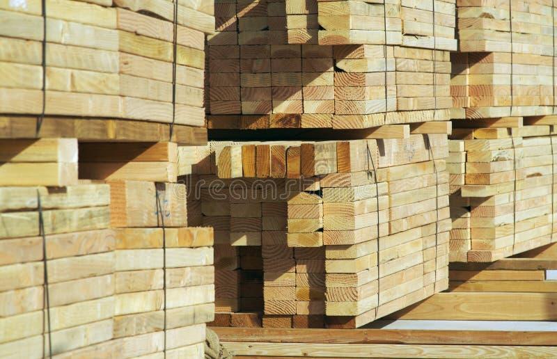 Stapels van het Hout van de Bouw stock afbeelding
