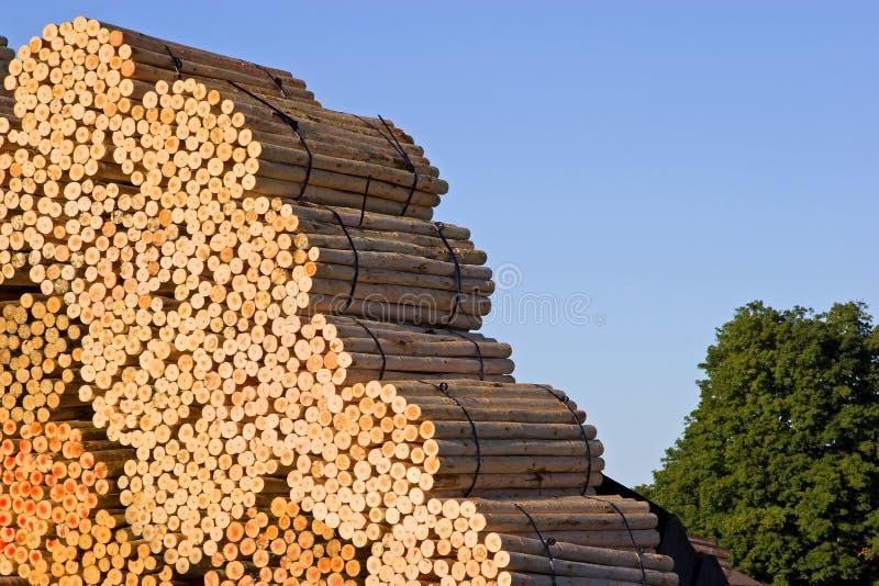 Stapels van hout bij een zaagmolen stock foto's