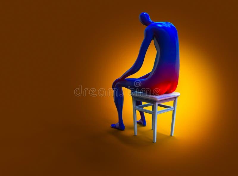 Stapeltod Mann, der schmerzlich auf einem Stuhl sitzt Abbildung 3D stock abbildung