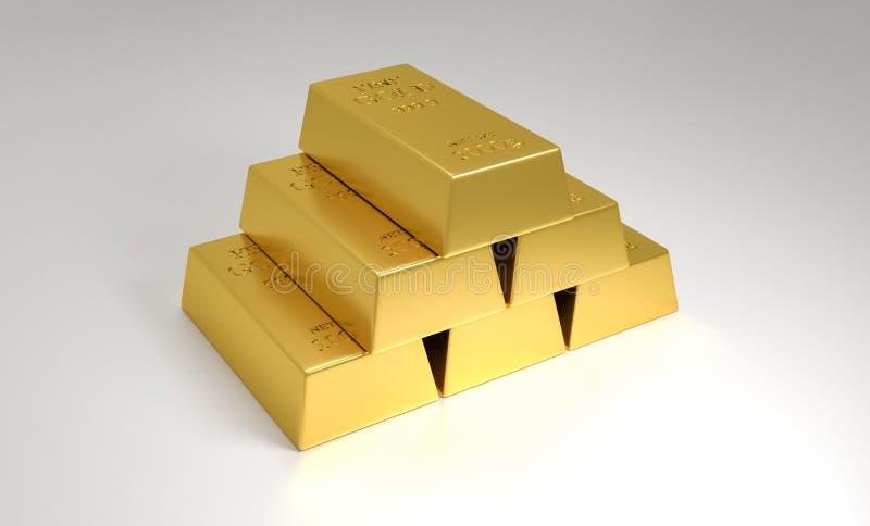 Staplad hög av guld- stänger illustration 3d vektor illustrationer