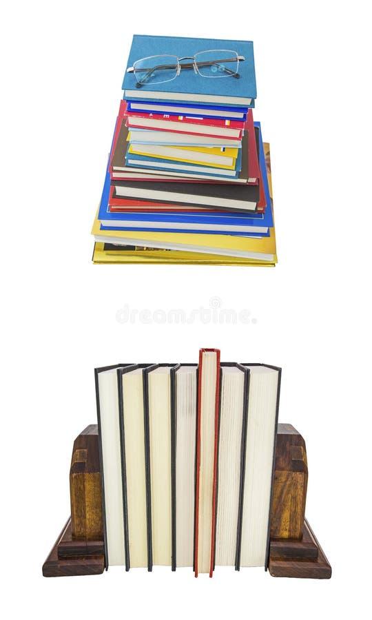 Staplad isolerad bakgrund för bokslut collage royaltyfria bilder
