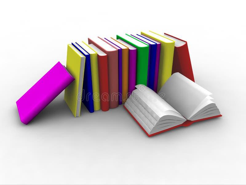 staplade böcker 3d royaltyfri illustrationer