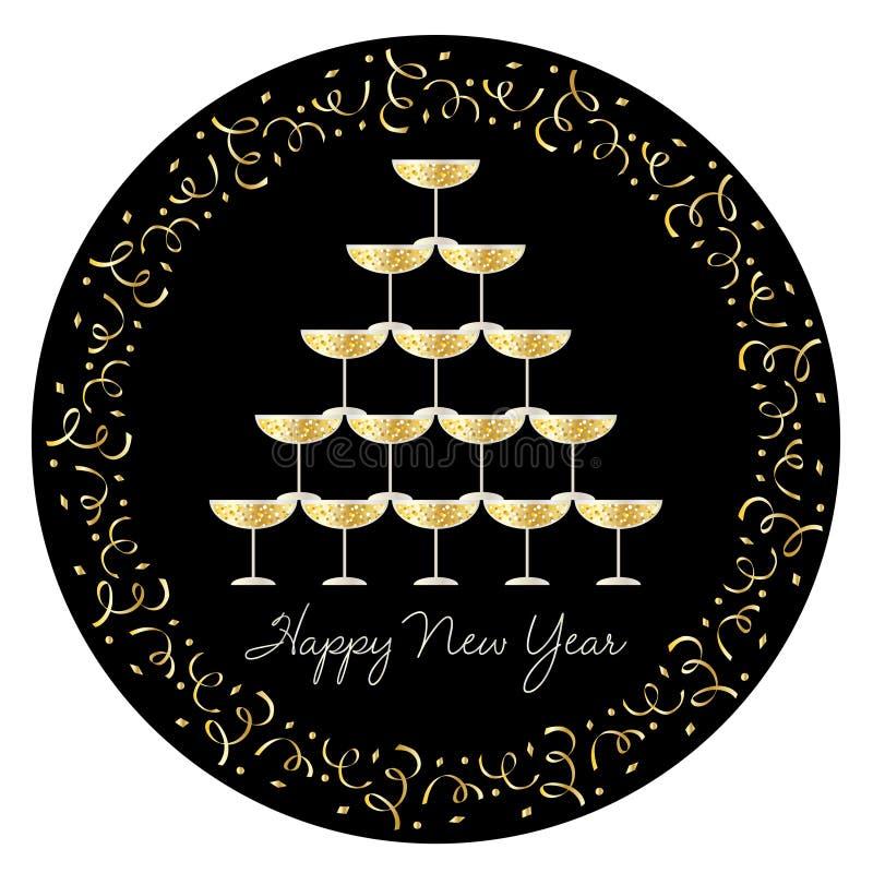 Staplade champagneexponeringsglas med konfetticirkelramen stock illustrationer