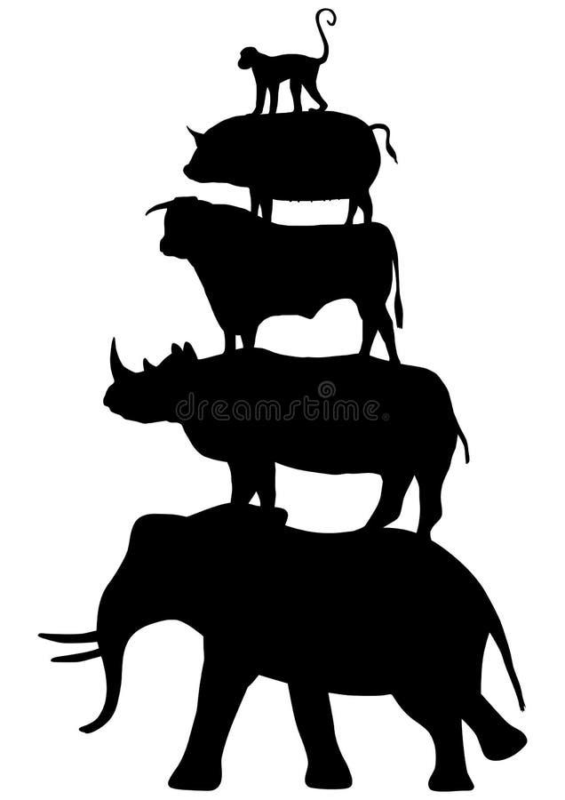 Staplade djur vektor illustrationer