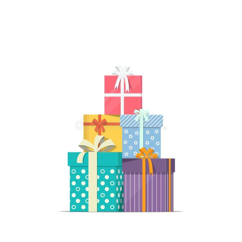Staplade gåvaaskar i plan stil Begreppsdesign av ferierabattförsäljningen Hög av gåvasymbolen royaltyfri illustrationer