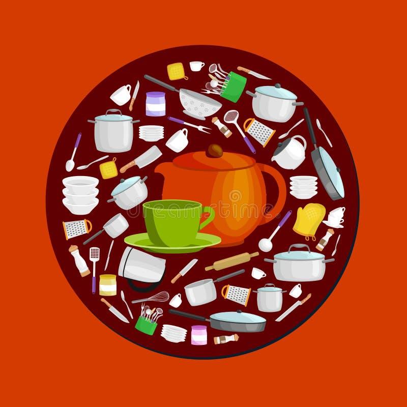 Staplade tekoppar för rengöring för kökhushållbestick och vit keramisk platta tekanna kopptefat i en uppsättning för tevect stock illustrationer