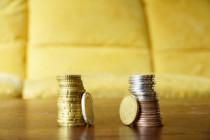 Staplar av mynt royaltyfria foton