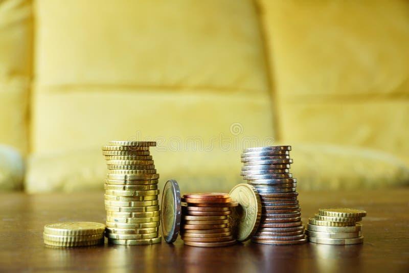 Staplar av mynt royaltyfri foto