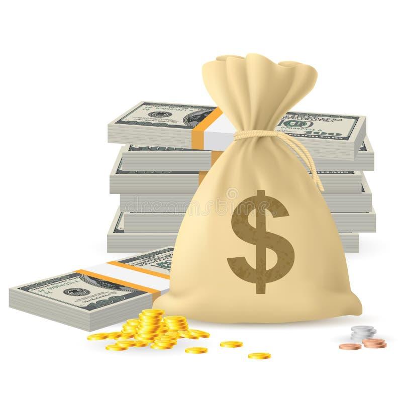 Staplar av pengar vektor illustrationer