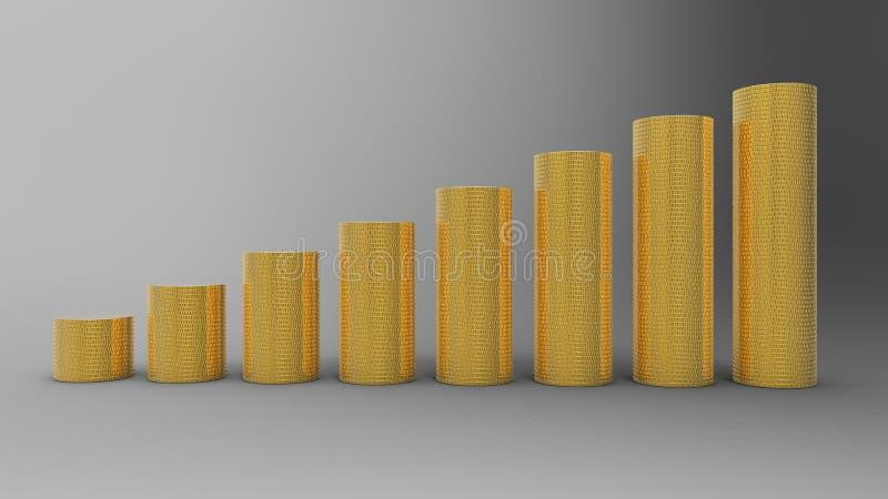 staplar guld- progress för mynt framgång vektor illustrationer