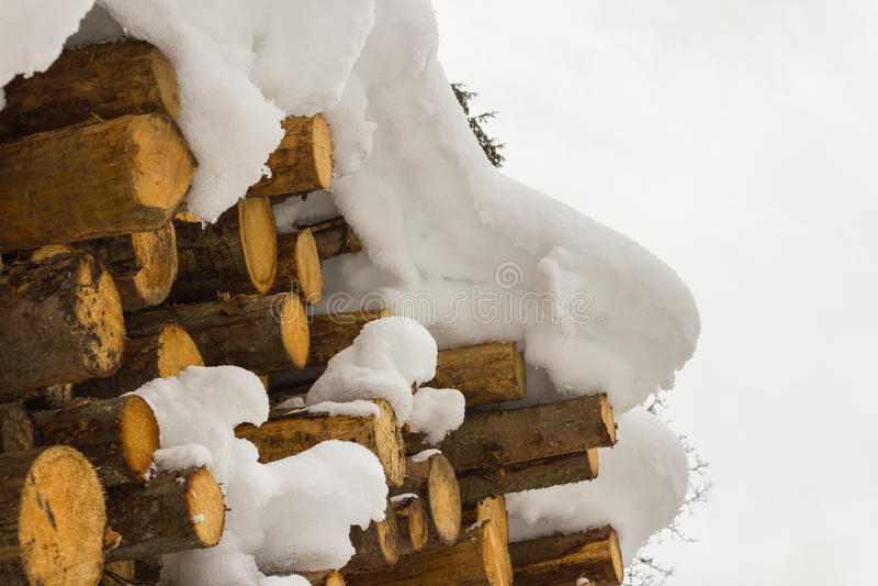 Staplat trä som täckas med snö, fjällängar Österrike i Salzburg arkivbild