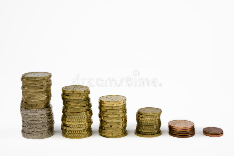 Stapled coins stock photos