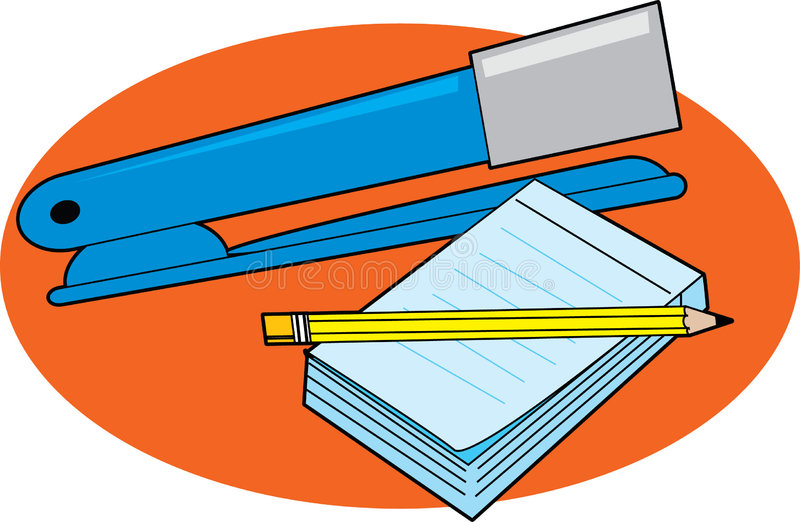 Stapler and Notepad. Blue Stapler with a notepad and pencil vector illustration