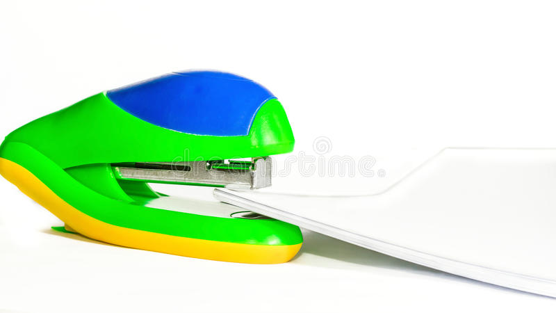 Stapler and paper pack stock photos