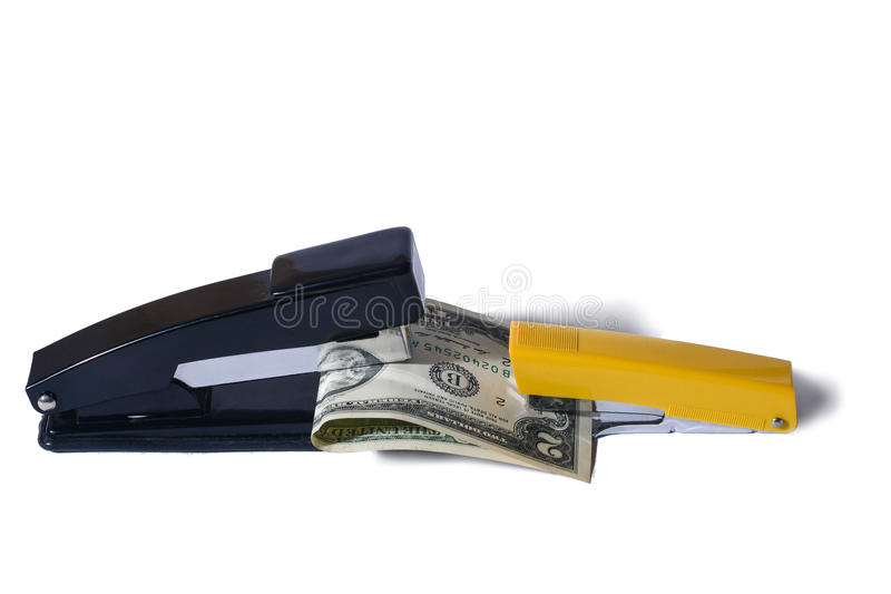Staplers δολάρια δαγκωμάτων στοκ φωτογραφία