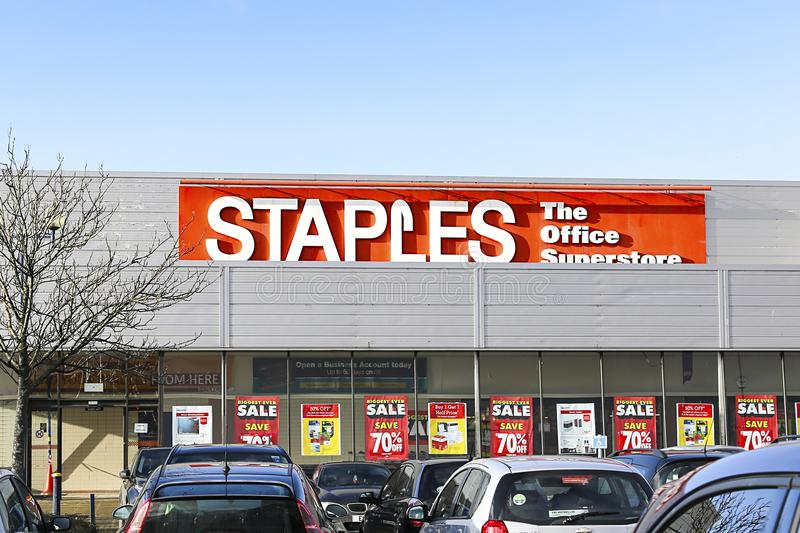 Staples Office supplies with a massive sale and 70% reductions royalty free stock image
