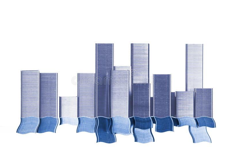 Staplescape при отражение волны сделанное от штапелей стоковое изображение